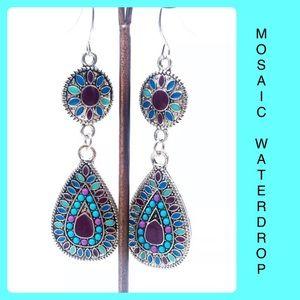 Mosaic Waterdrop Dangle Earrings Silver Colorful